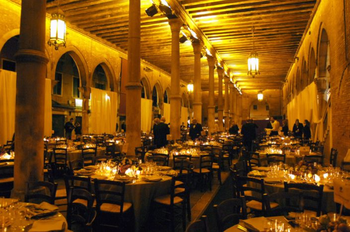 VENICE,GALA DINNER IN THE RIALTO FISH MARKET