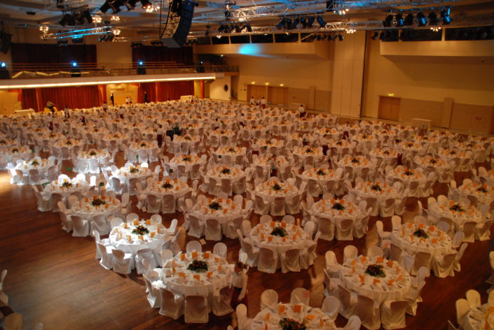 BERLIN – GALA DINNER SET UP AT ESTREL CONFERENCE CENTER (UNICREDIT CONVENTION)